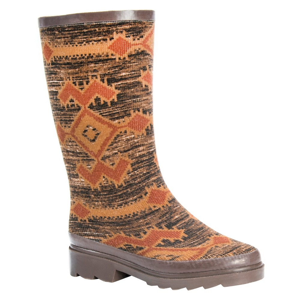 Womens Muk Luks Annabelle Aztec Print Rain Boots - Brown 6