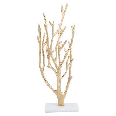Gold Coral Jewelry Tree with Marble Base - West Emory