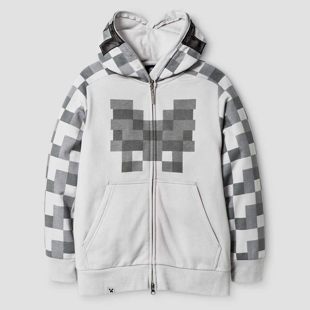 Boys' Minecraft Skeleton Costume Hood Sweatshirt Silver, Boy's, Size: XS