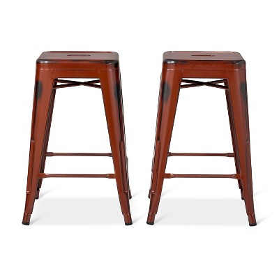 Distressed 24  Backless Counter Stool Set 2pc Red - Ace