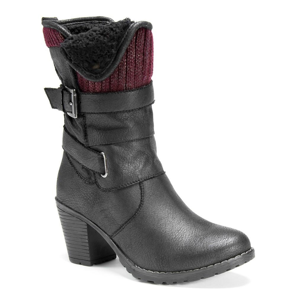 Womens Muk Luks Belle Belt Strap Boots - Black 7