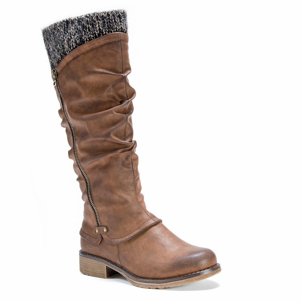 Womens Muk Luks Bianca Slouch Boots - Brown 10