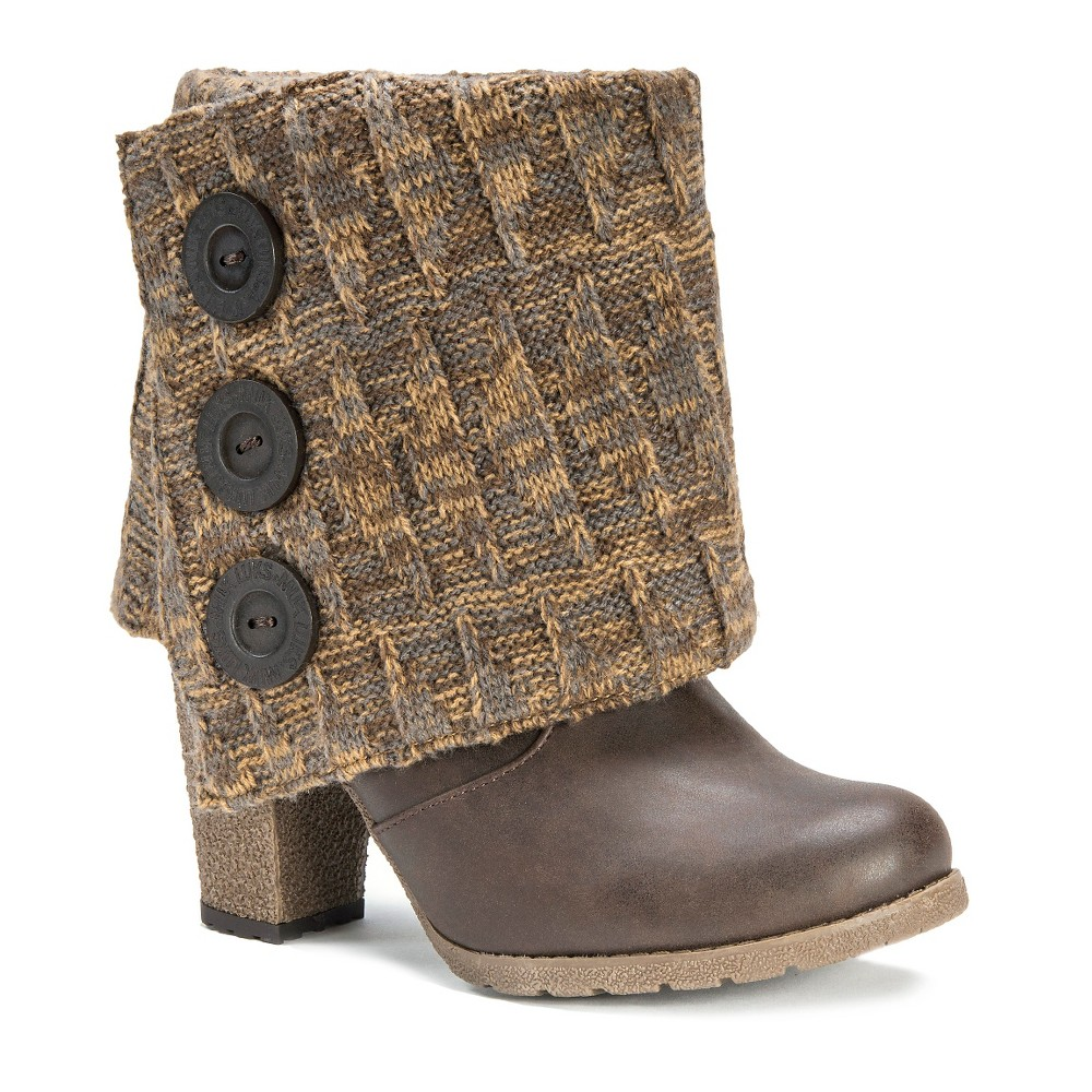 Womens Muk Luks Chris Sweater w/Button Ankle Boots - Chocolate 7, Brown