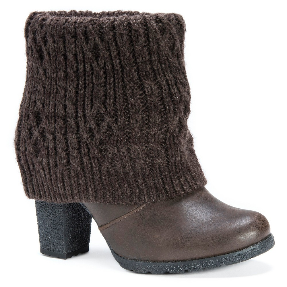 Womens Muk Luks Chris Sweater Ankle Boots - Brown 10