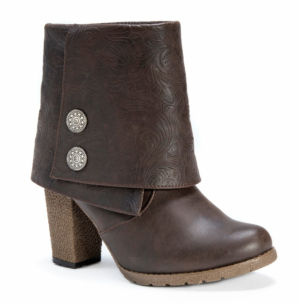 Womens Muk Luks Chris Button Detail Ankle Boots - Cocoa 10, Brown