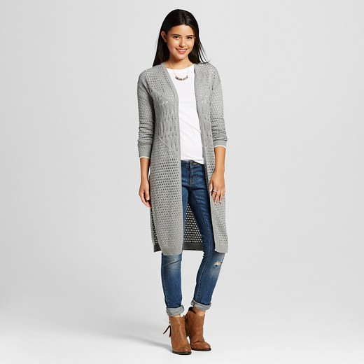 Women's Pointelle Duster Cardigan Heather Gray L - Love @ First ...