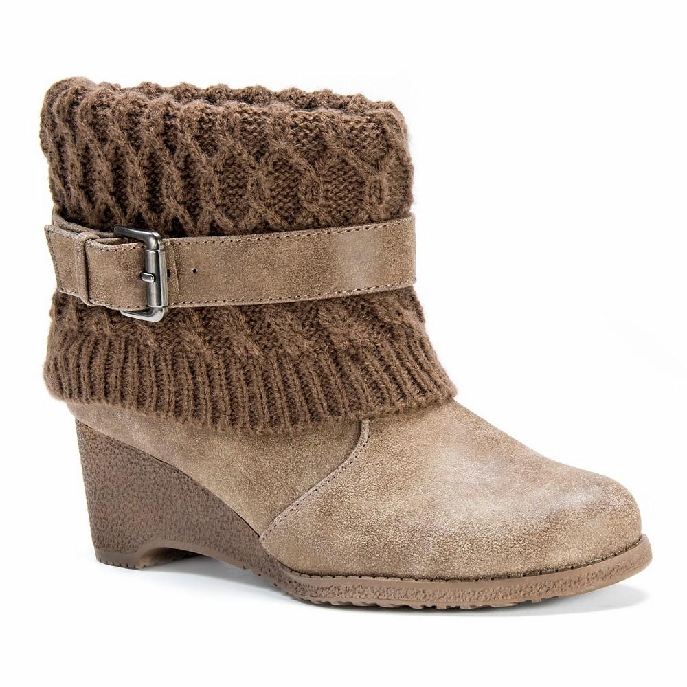 Women's Muk Luks Deena Wedge Ankle Boots - Brown 7