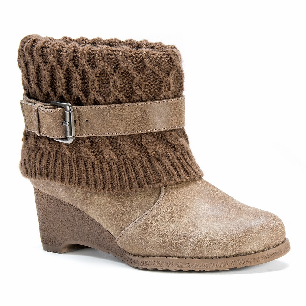Womens Muk Luks Deena Wedge Ankle Boots - Brown 10