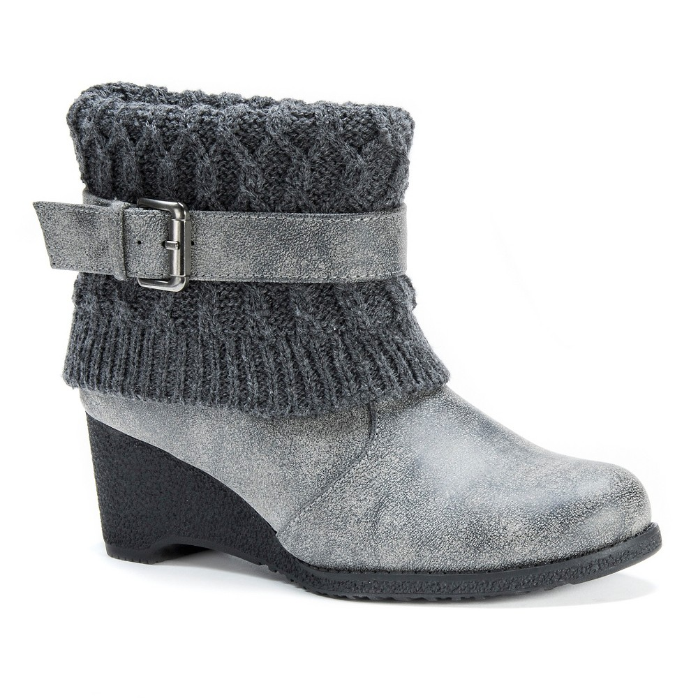 Womens Muk Luks Deena Wedge Ankle Boots - Gray 6