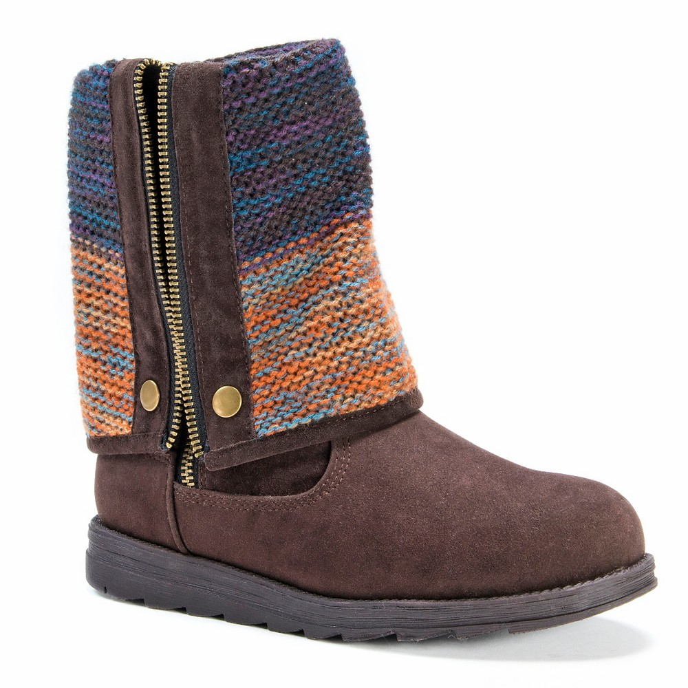 Womens Muk Luks Demi Multi Patterned Fold Over Boots - Brown 9