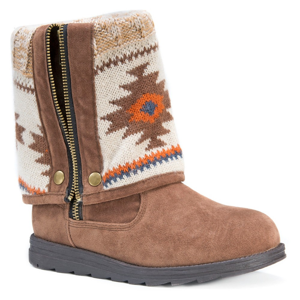 Womens Muk Luks Demi Aztec Print Fold Over Boots - Tan 7, Beige