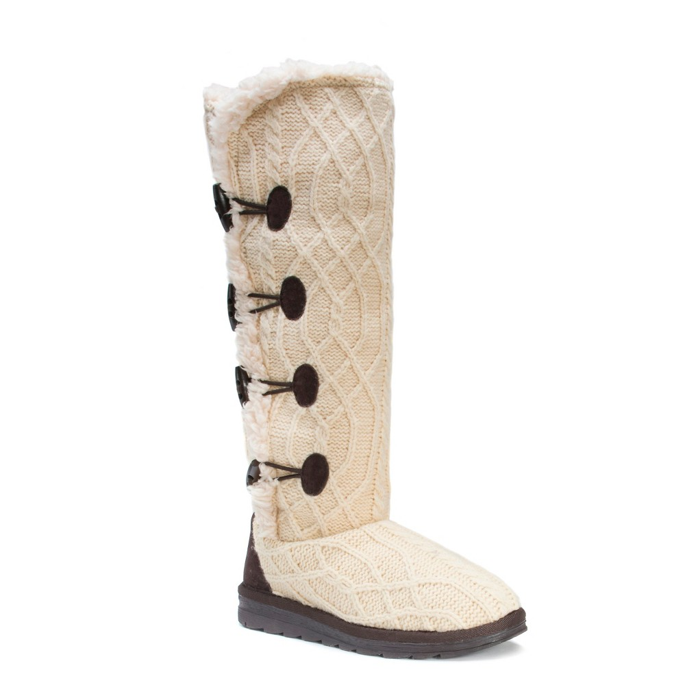 Womens Muk Luks Felicity Cable Knit Shearling Boots - White 8