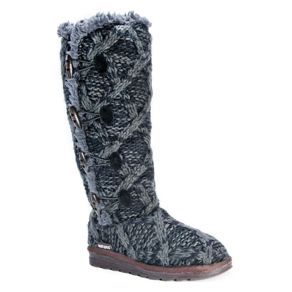 Womens Muk Luks Felicity Cable Knit Shearling Boots - Black 6