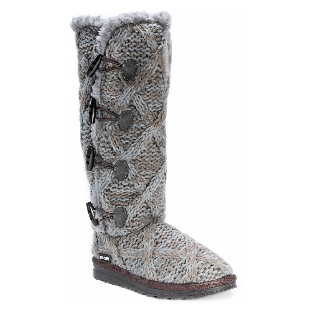 Womens Muk Luks Felicity Cable Knit Shearling Boots - Gray 8