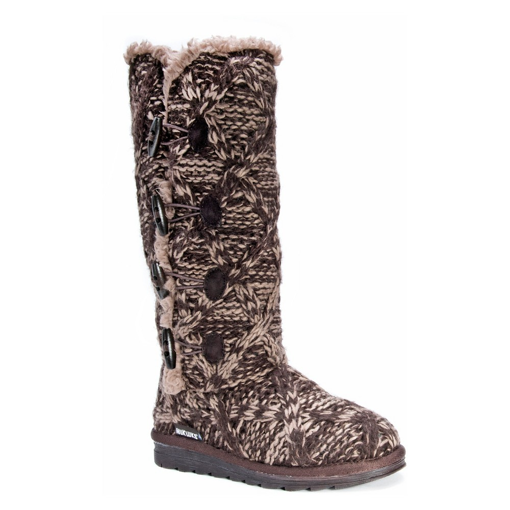 Women's Muk Luks Felicity Cable Knit Shearling Boots - Brown 11
