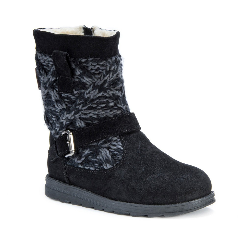 Womens Muk Luks Gina Shearling Boots - Black/Gray 6, Black/Grey