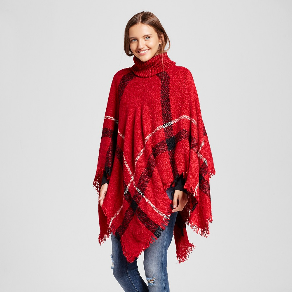 Womens Plaid Poncho Turtleneck Burgundy (Red) - Sylvia Alexander