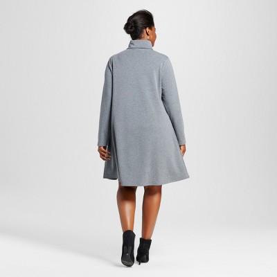 Women's Plus Size Cozy Swing Dress Heather Gray X - Ava & Viv