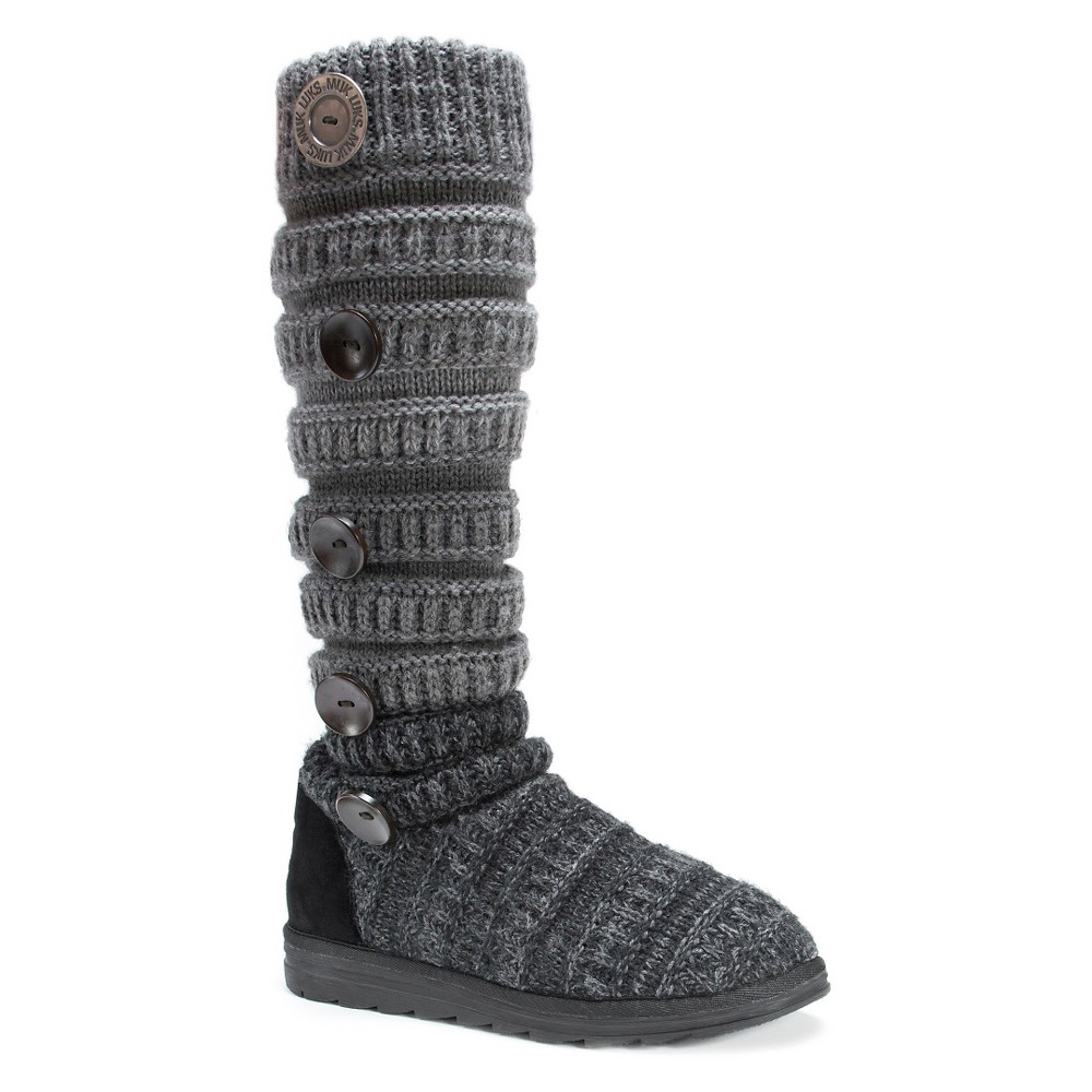 Womens Muk Luks Kalie Cable Knit Sweater Boots - Black 7