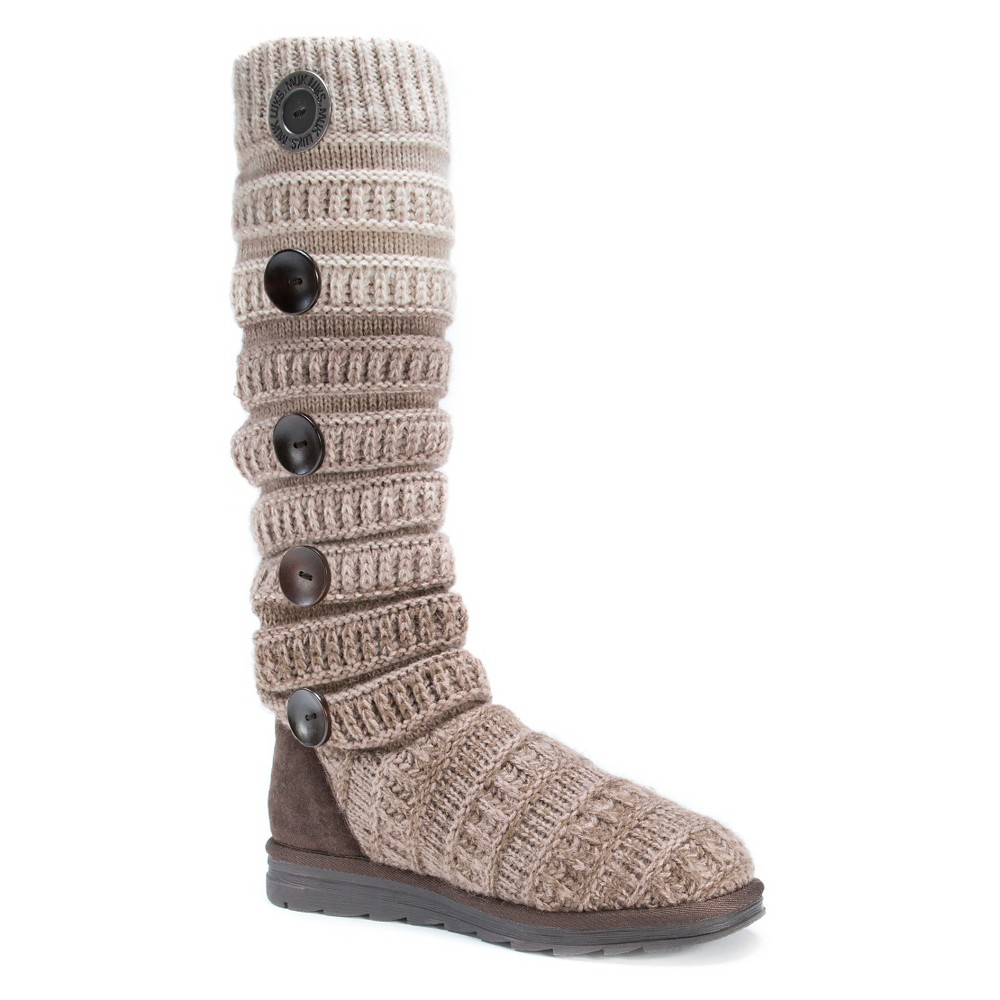 Womens Muk Luks Kalie Cable Knit Sweater Boots - Tan 10