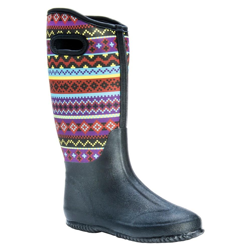 Womens Muk Luks Karen Aztec Print Rain Boots - Black 7