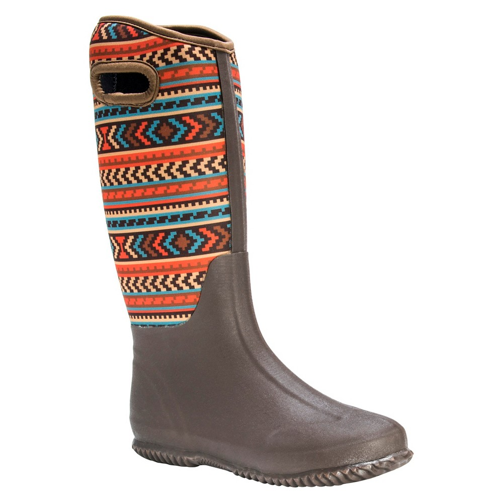 Womens Muk Luks Karen Aztec Print Rain Boots - Brown 8