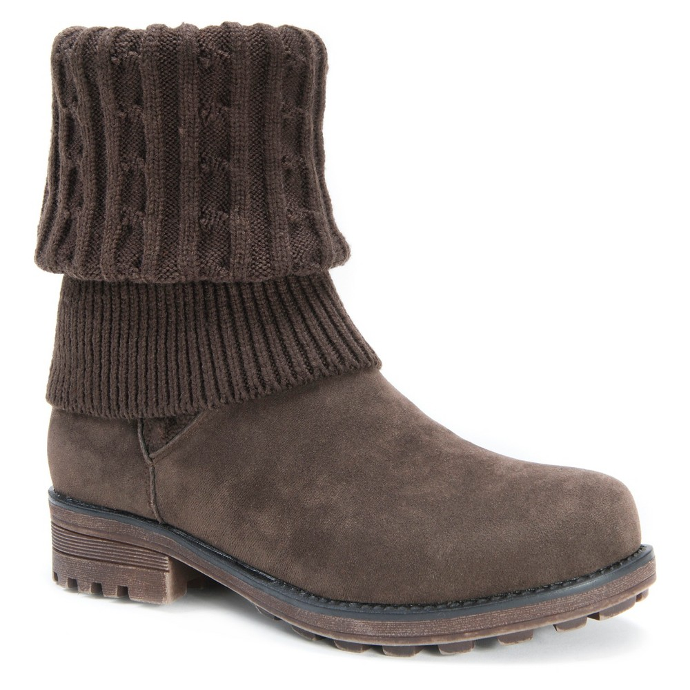 Womens Muk Luks Kelby Knit Sweater Boots - Brown 6