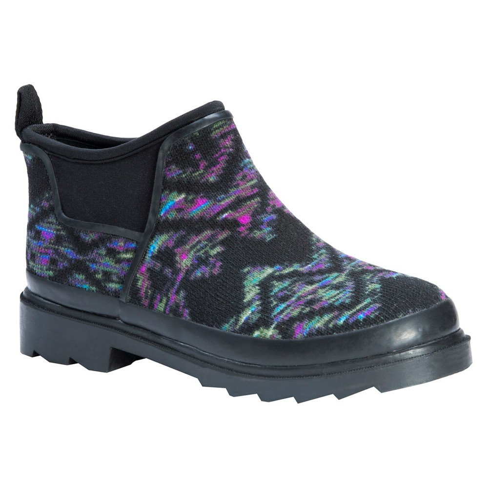Womens Muk Luks Libby Spacedye Design Rain Shoes - Black 6