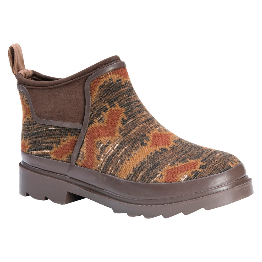 Womens Muk Luks Libby Aztec Print Rain Shoes - Brown 7