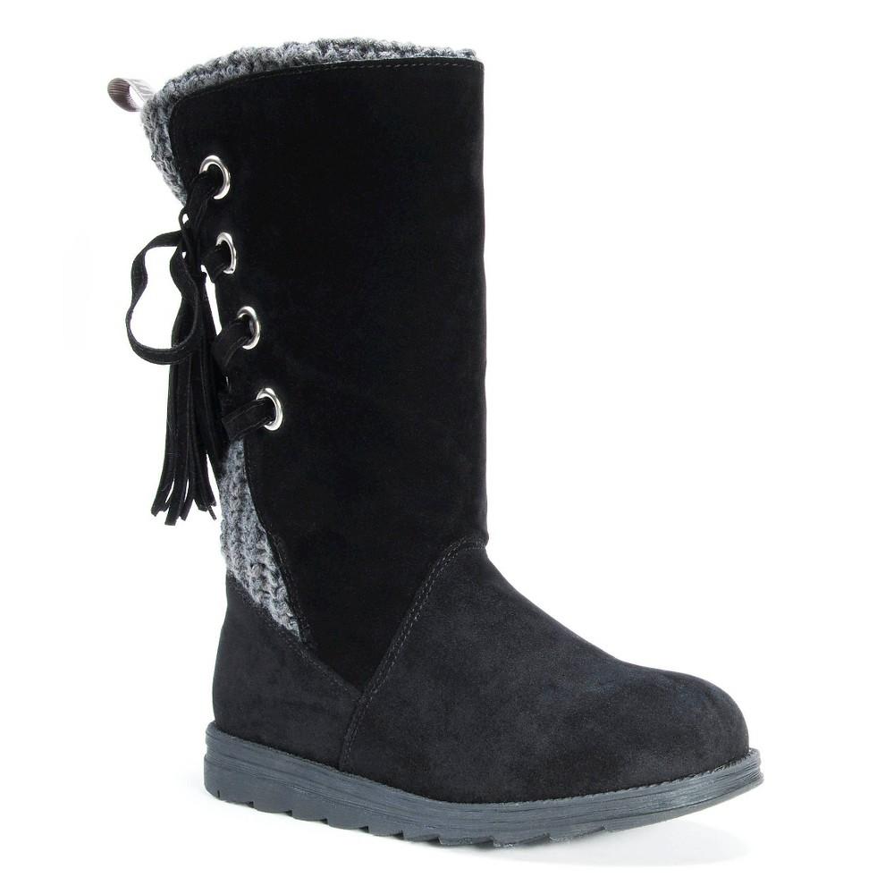 Womens Muk Luks Luanna Back Lace-Up Boots - Black 8