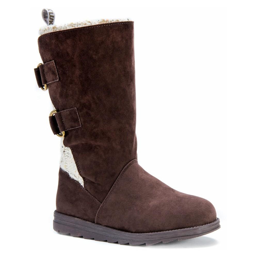 Womens Muk Luks Luna Buckle Detail Boots - Brown 9
