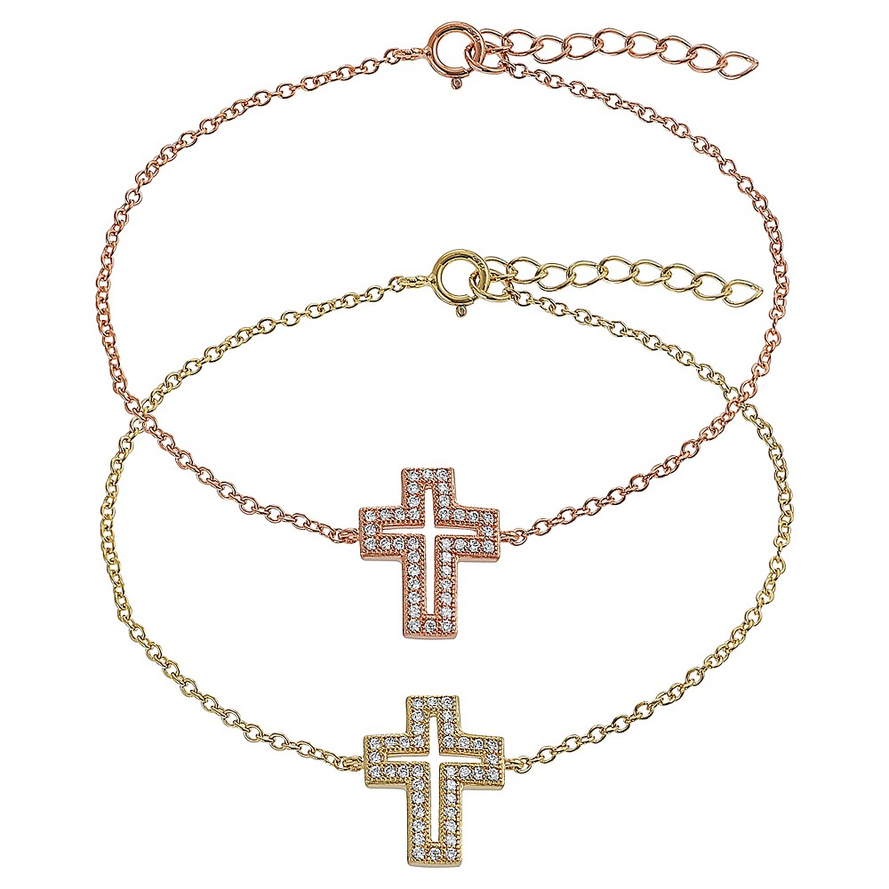 3/8 CT. T.W. Round-cut Cubic Zirconia Pave Set Cross Bracelet in Sterling Silver - Gold (8), Womens