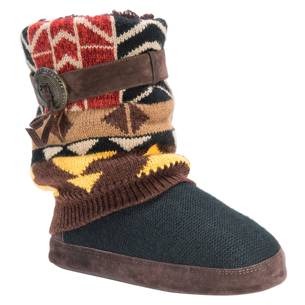 Womens Muk Luks Sofia Aztec Print Sweater Knit Slipper Boots - Black M(7-8), Size: M (7-8)