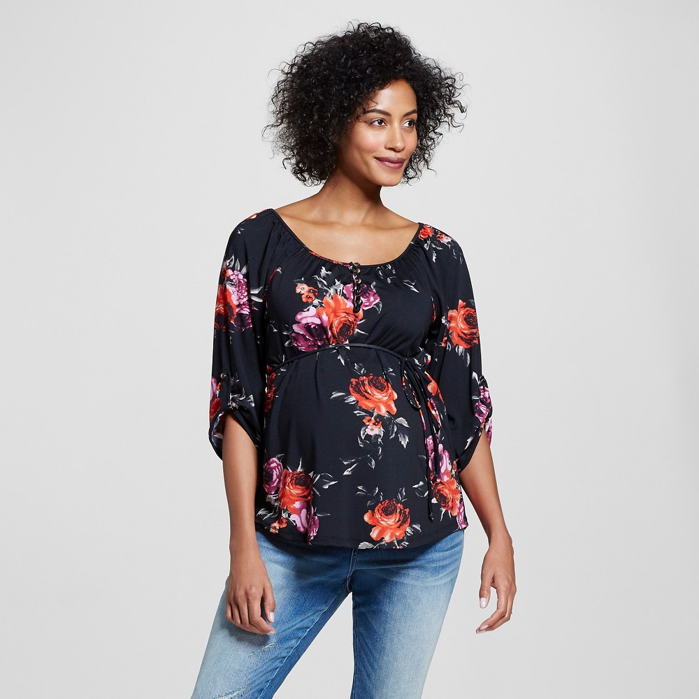 Maternity Button Front Peasant Top Black/Pink/Multicolor L – Expected by Lilac, Women's, Multicolored