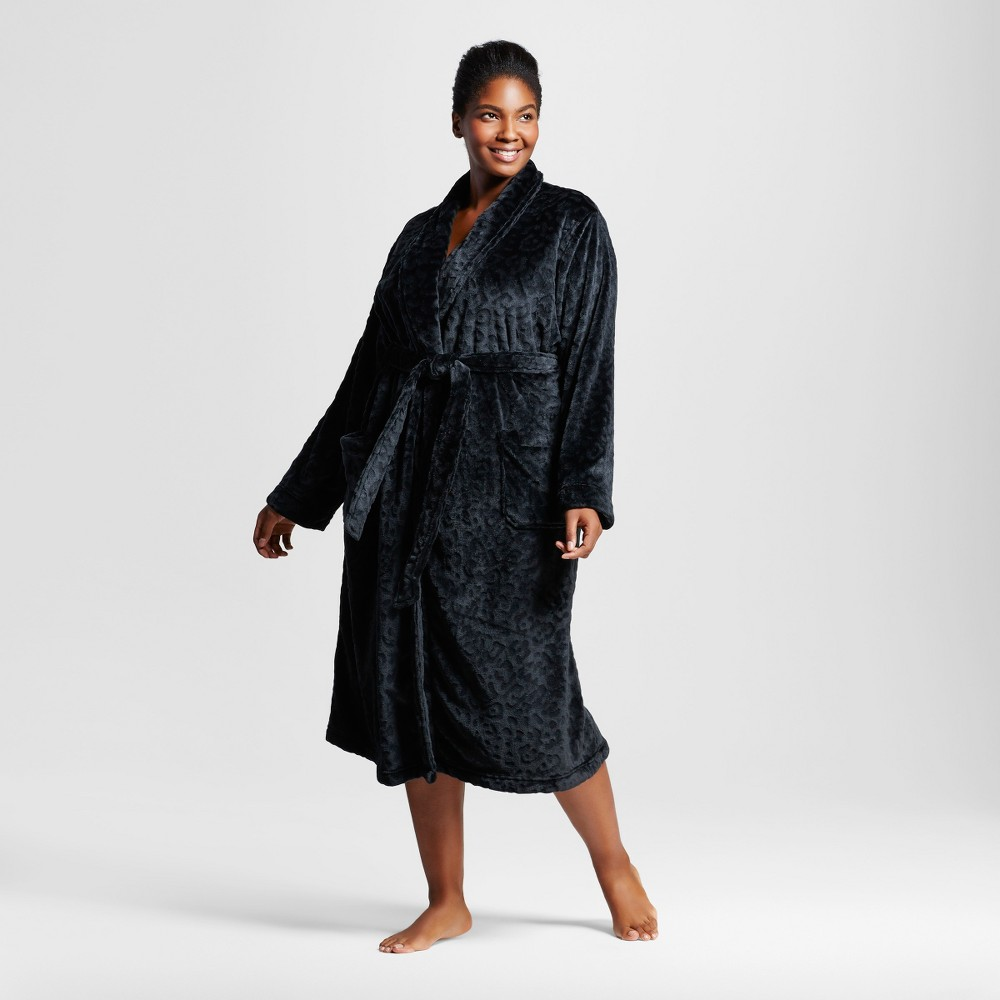 Womens Plus Size Embossed Animal Cozy Robe - Black 1X