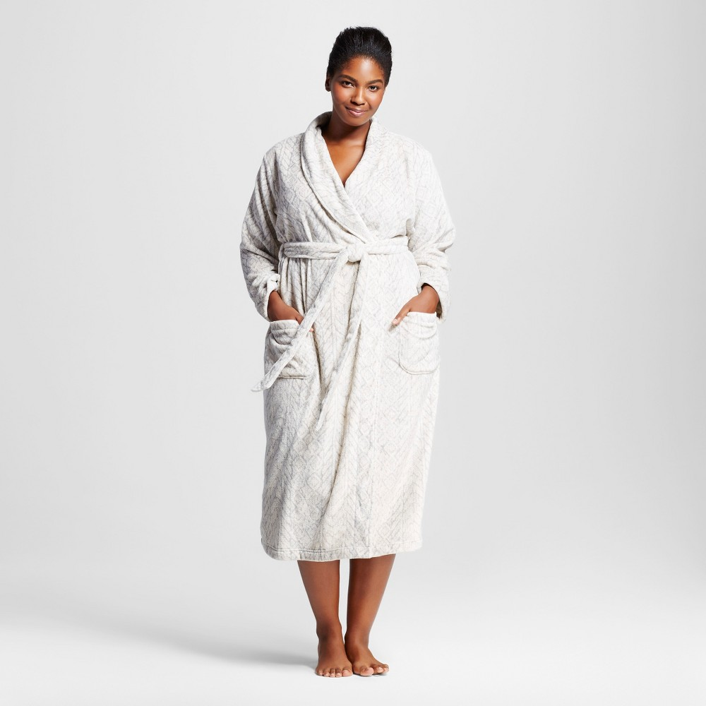 Womens Plus Size Embossed Animal Cozy Robe - Gray 1X