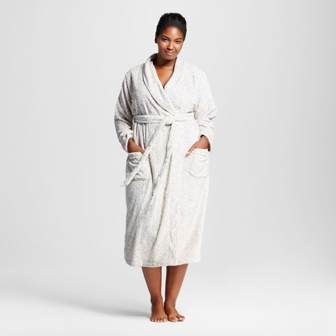 Women's Plus Size Embossed Animal Cozy Robe - Gilligan & O'Malley™ - Gray 2X - image 1 of 2