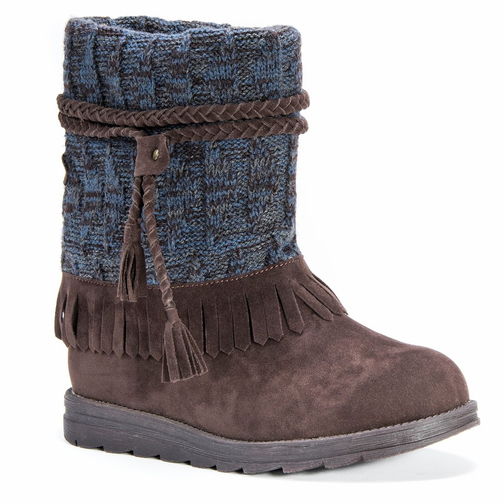 Womens Muk Luks Rihanna Braided Strap Detail Boots - Brown 6