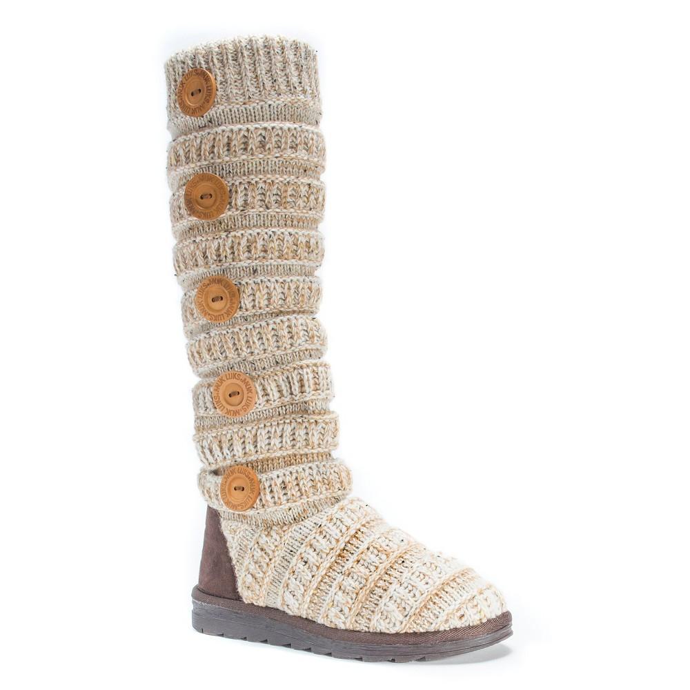 Womens Muk Luks Miranda Cable Knit Sweater Boots - Beige 7