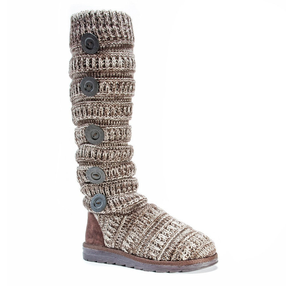 Womens Muk Luks Miranda Cable Knit Sweater Boots - Brown 10