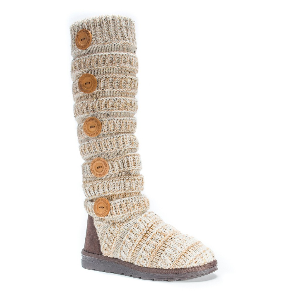 Womens Muk Luks Miranda Cable Knit Sweater Boots - Beige 8