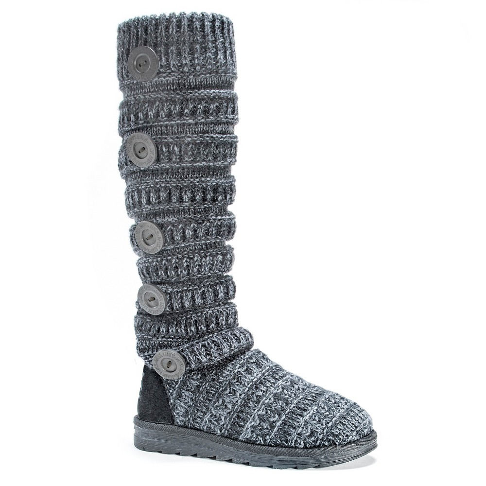 Womens Muk Luks Miranda Cable Knit Sweater Boots - Gray 7