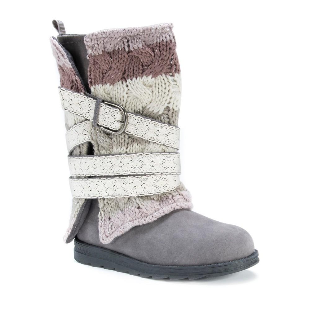 Womens Muk Luks Nevia Multi Strap Sweater Boots - Gray 7