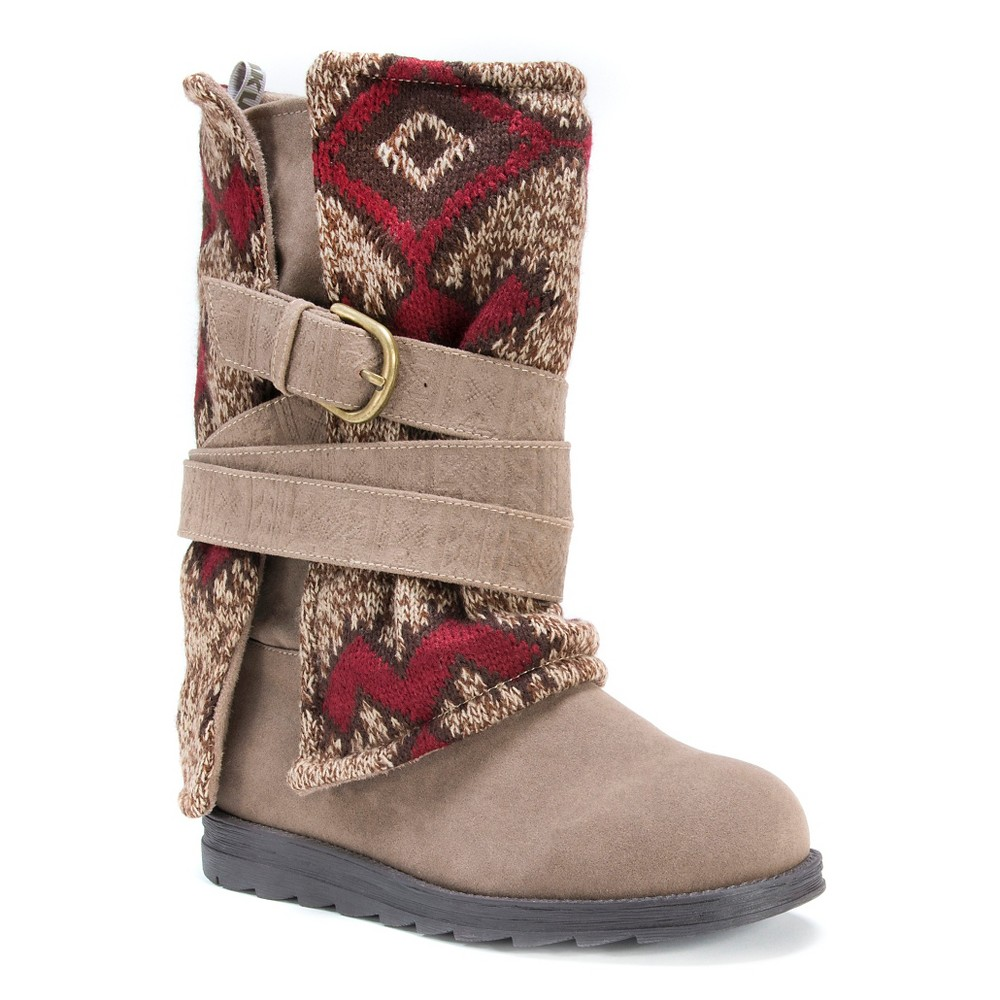 Womens Muk Luks Nevia Multi Strap Sweater Boots - Brown 9