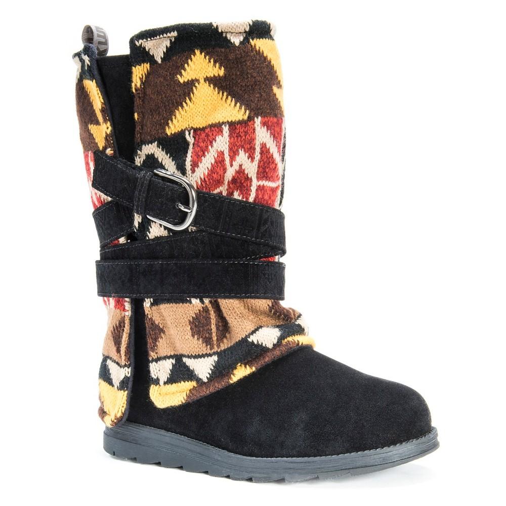 Women's Muk Luks Nikki Multi Strap Print Boots - Black 7