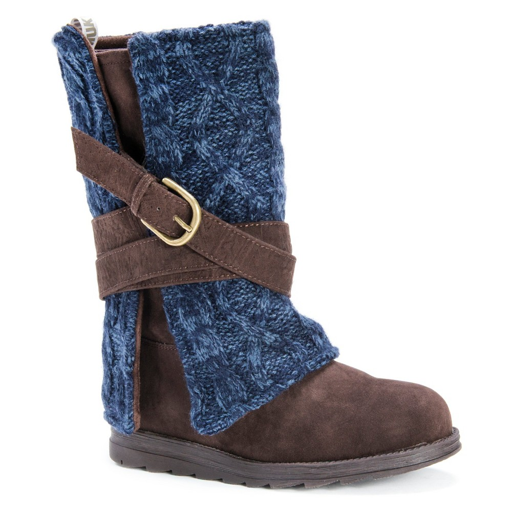 Womens Muk Luks Nikki Cable Knit Sweater Boots - Brown 8