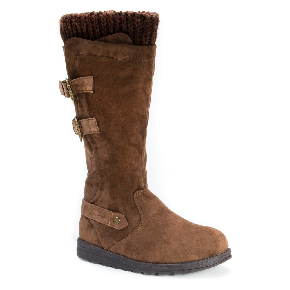 Womens Muk Luks Nora Buckle Detail Boots - Brown 9