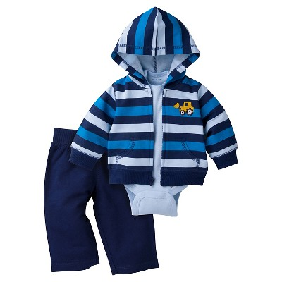 Baby Boys' Bulldozer Hooded Jacket, Short-Sleeve Onesie® and Pant Set 6-9m - Gerber®