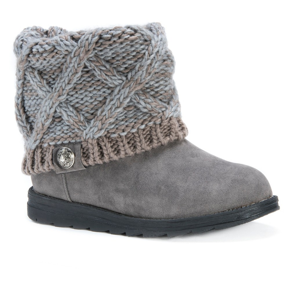 Womens Muk Luks Patti Sweater Ankle Boots - Blue/Gray 6, Blue/Grey