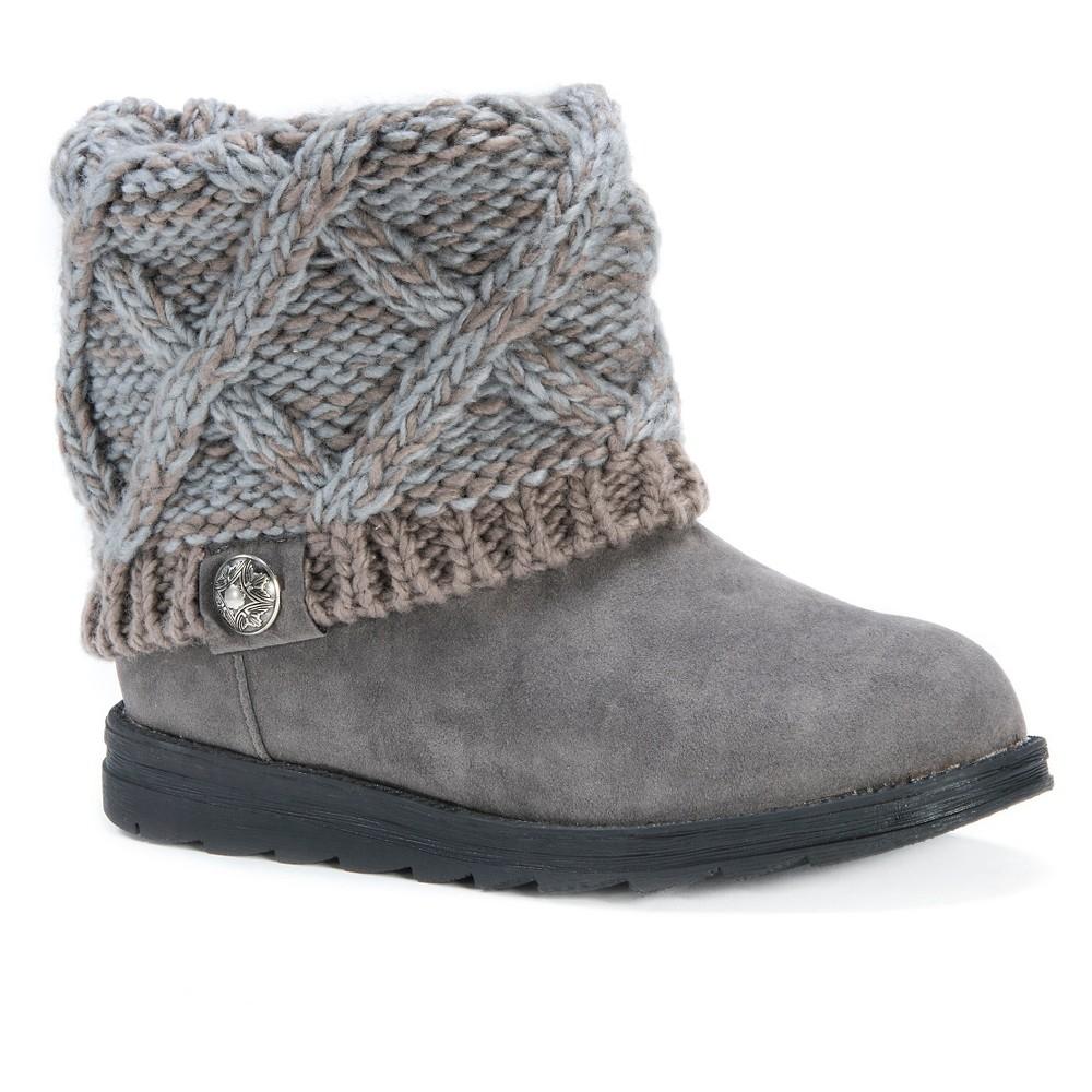 Womens Muk Luks Patti Sweater Ankle Boots - Blue/Gray 7, Blue/Grey